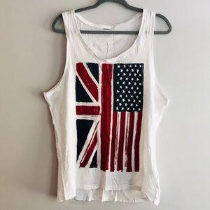 H&M Soft Cotton Union Jack American Flag Mix Tank